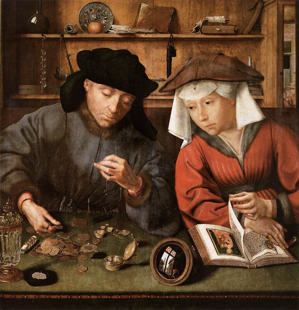 Detail of The moneylender and his wife, Quentin Metsys