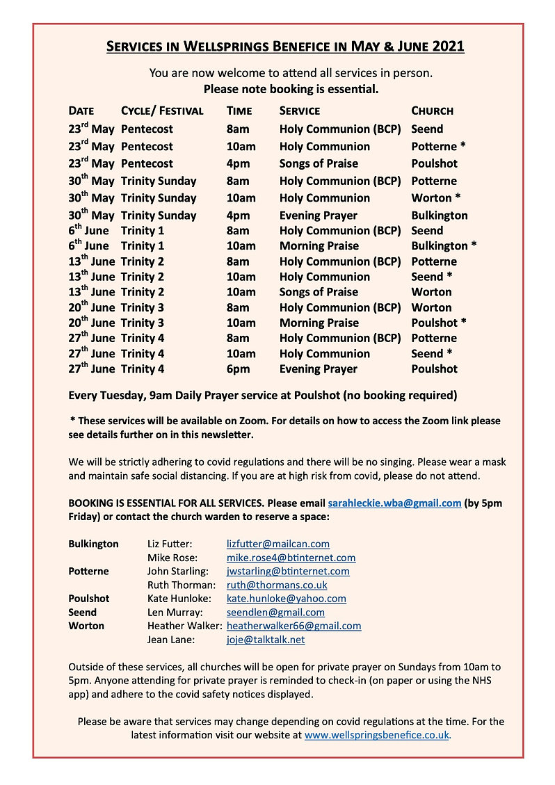 Wellsprings Together Newsletter 23rd May
