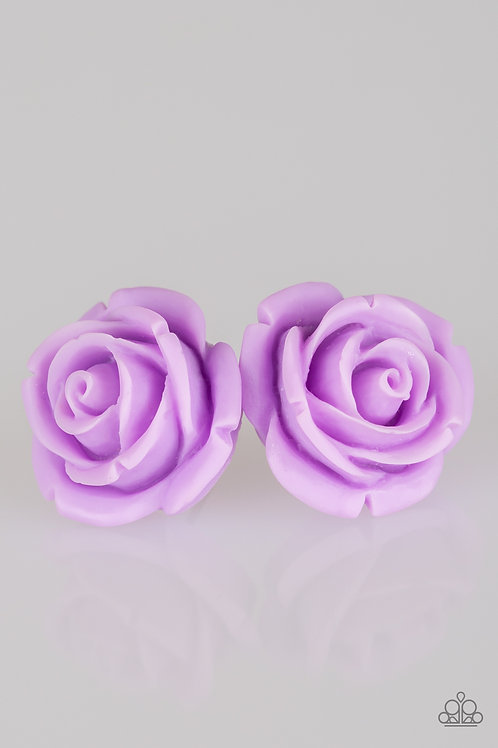 Rose Roulette Earrings - Purple