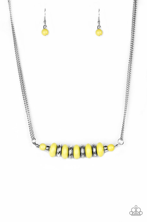On Mountain Time Necklace Yellow