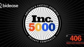 Bidease, GSD Venture Studio company named one of the fastest-growing companies By Inc Magazine