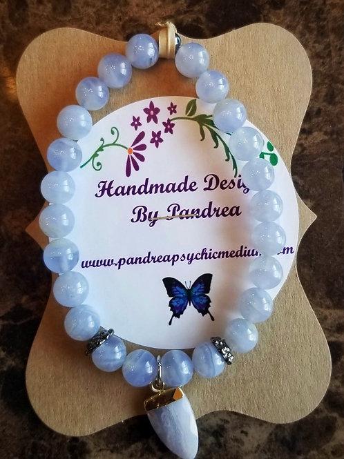 Handmade Blue Chalcedony Bracelet
