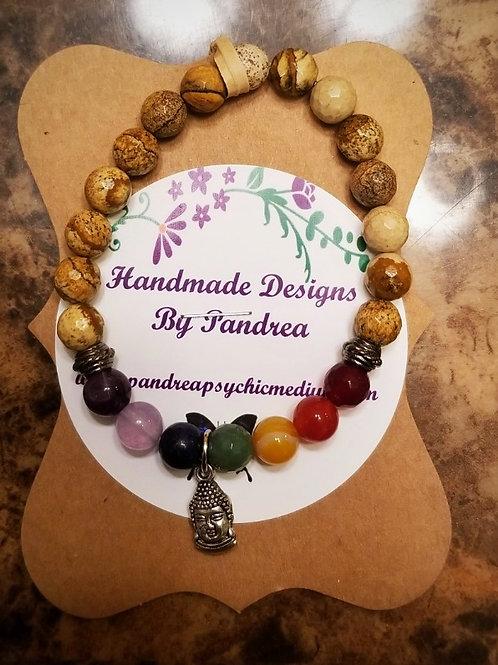 Handmade Chakra Bracelet/ w Picture Jasper Main Gemstone