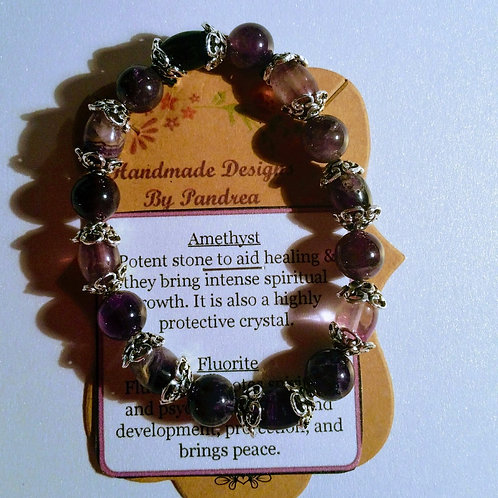 Handmade Amethyst & Fluorite Bracelet