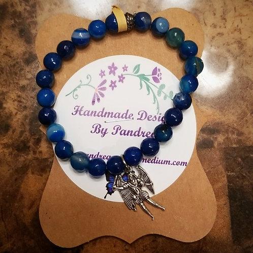 Handmade Blue Striped Agate Bracelet
