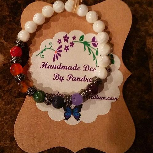 Chakra Bracelet/ w Mother of Pearl Main Gemstone