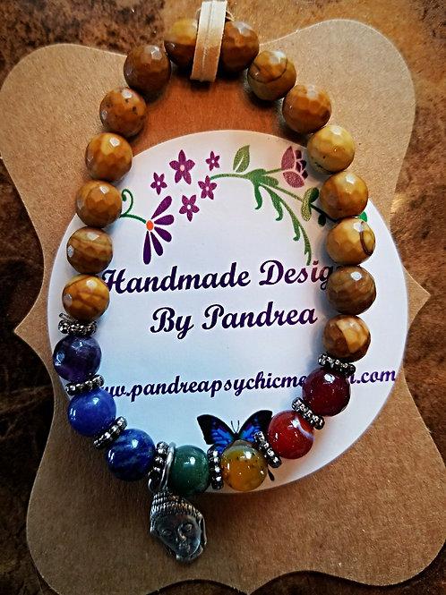 Handmade Chakra Bracelet/ w Faceted Petrified Wood