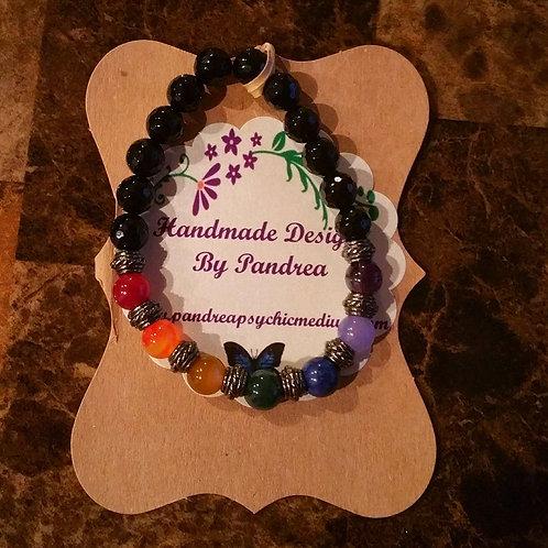 Chakra Bracelet/ w Black Onyx Main Gemstone