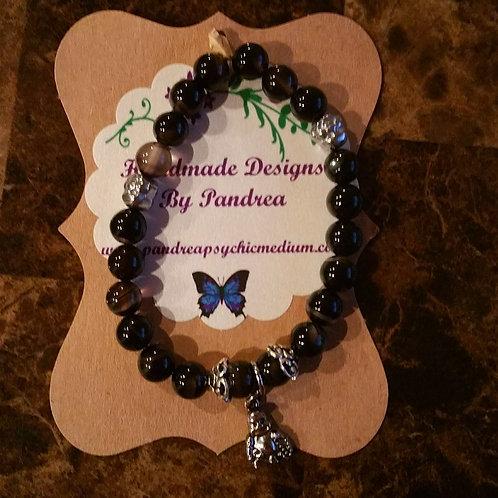 Black Agate Bracelet w/ Hematite Buddha Beads