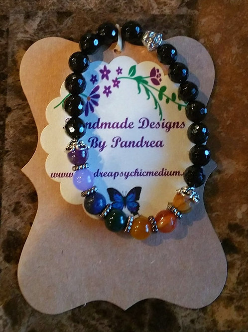 Handmade Chakra Bracelet w/ Black Onyx as main gemstone