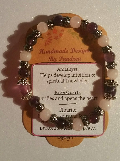 Handmade Amethyst, Rose Quartz and Fluorite Bracelet