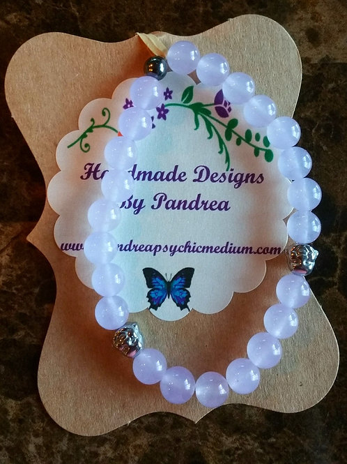 Handmade Lavender Jade Bracelet w/ Hematite Buddha Bead