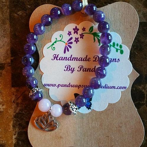Amethyst & Pink Rose Quartz Bracelet w/Lotus