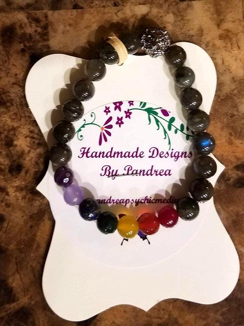 Handmade Chakra Bracelet/ w Labradorite Main Gem Stone Silver Lion Charm
