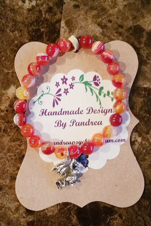 Red & Yellow Striped Agate Bracelet w/ Dragon