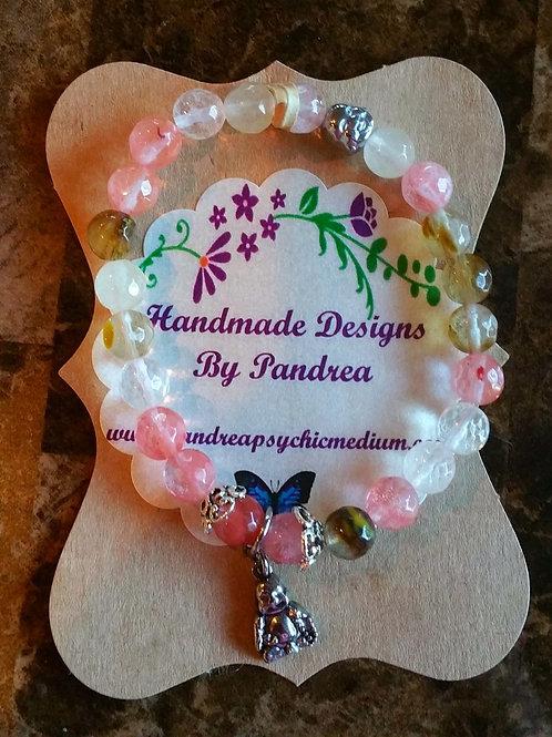 Handmade Multi-color Cherry Quartz Bracelet w/Buddha