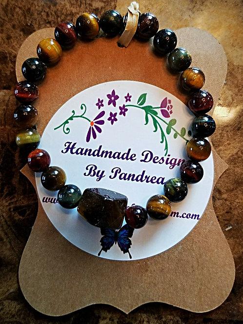 Handmade Multicolor Tiger Eye with Brown Tiger Eye Nugget Bracelet