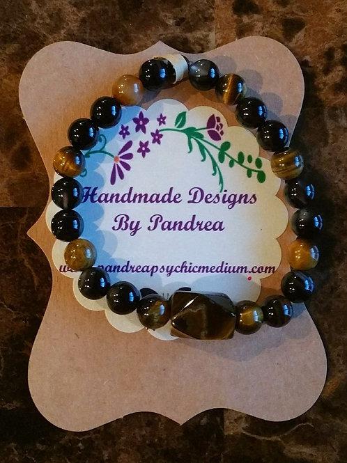 Handmade Tiger's Eye & Black Agate Bracelet with Tiger Eye Center Piece