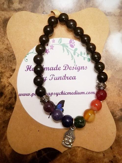 Handmade Chakra Bracelet/ w Black Agate Main Gemstone