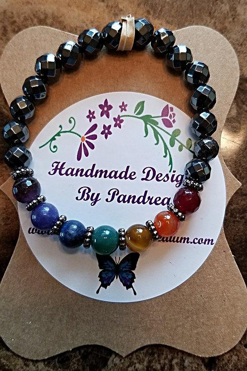 Handmade Chakra Bracelet/ w Faceted Hematite Main Gemstone