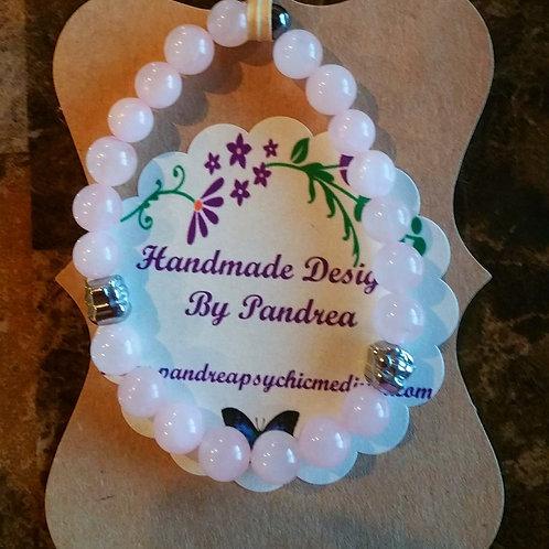 Handmade Rose Quartz Bracelet w/ Hematite Buddha Bead