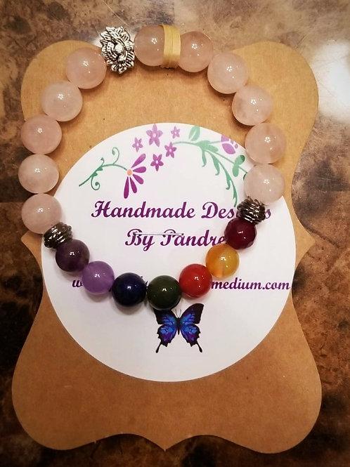 Handmade Chakra Bracelet w/ Rose Quartz Main Gemstone