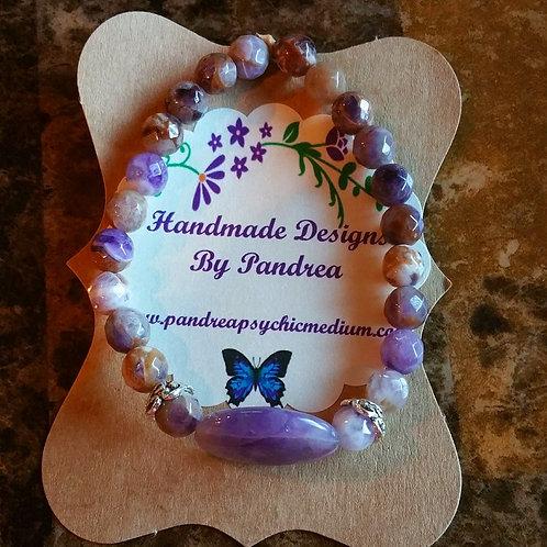 Handmade Cape Amethyst Bracelet w/ Oval Cape Amethyst center piece