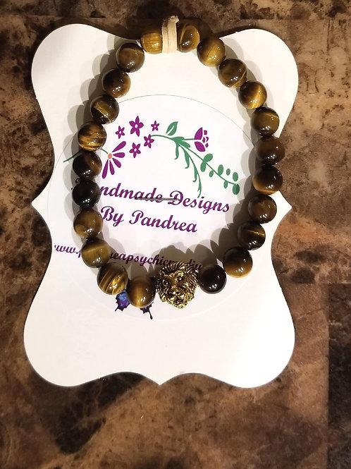 Handmade Chakra Bracelet/ w Tiger Eye Main Gem Stone Gold Lion Charm