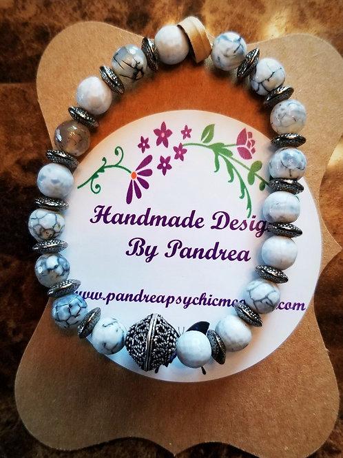 Handmade White Fire Agate Bracelet