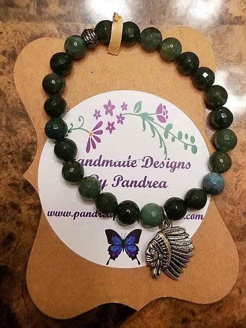 Handmade Green Moss Agate Bracelet