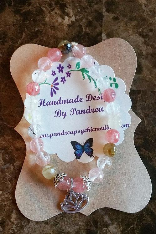 Handmade Multi-color Cherry Quartz Bracelet w/Lotus