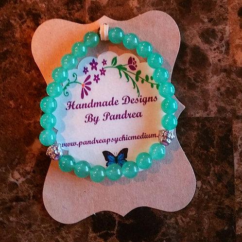 Handmade Light Green Jade Bracelet w/ Hematite Buddha Bead
