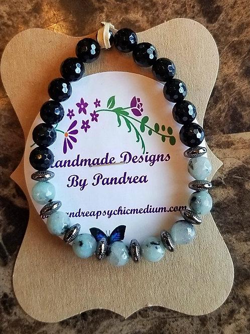 Handmade Sesame Jasper & Black Onyx Bracelet