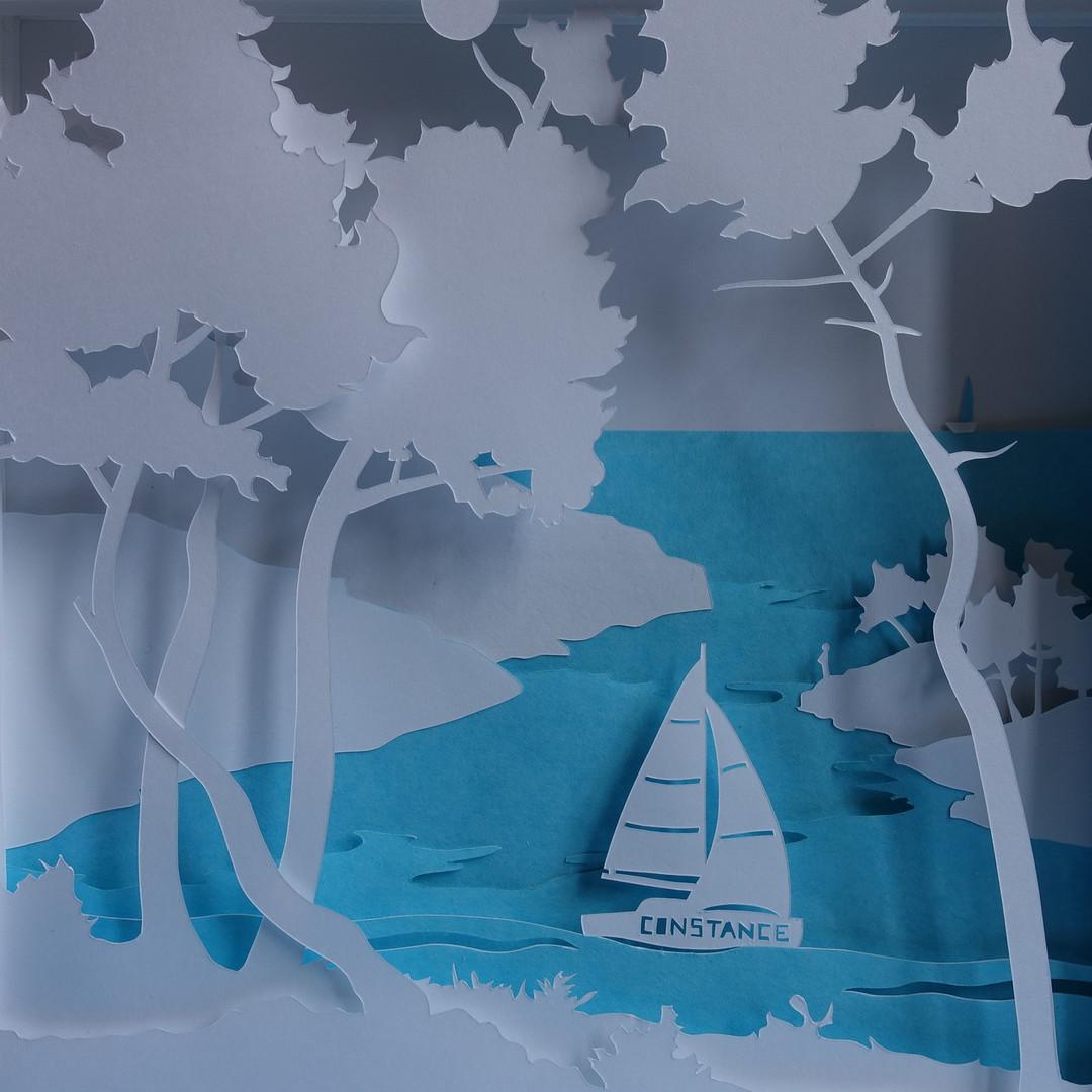 """Lightbox """"Calanques"""" - Version personnalisée avec prénom et mer bleue- OFF"""