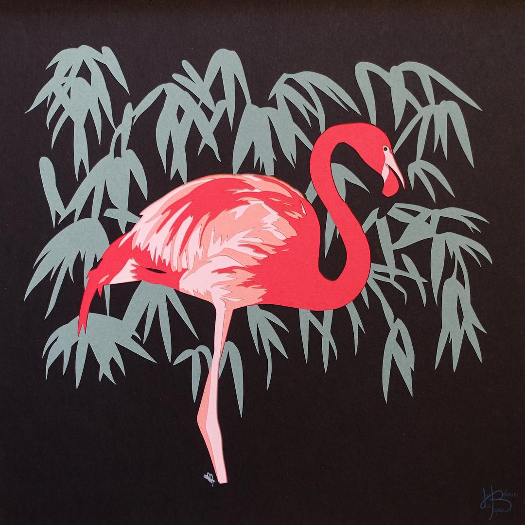 """Illustration en papier découpé """"Flamant rose"""""""