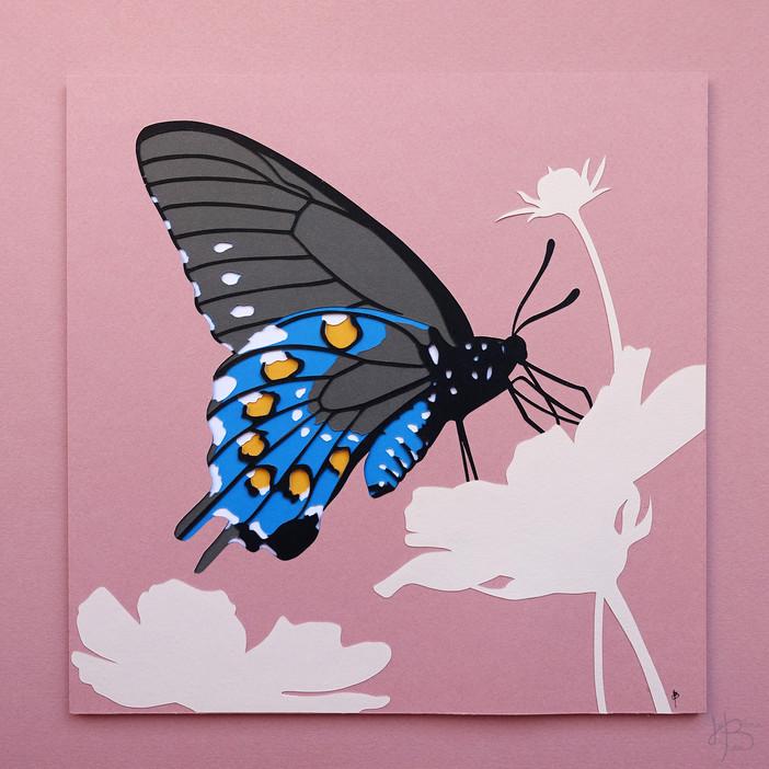 """Illustration en papier découpé """"Papillon en train de butiner"""""""