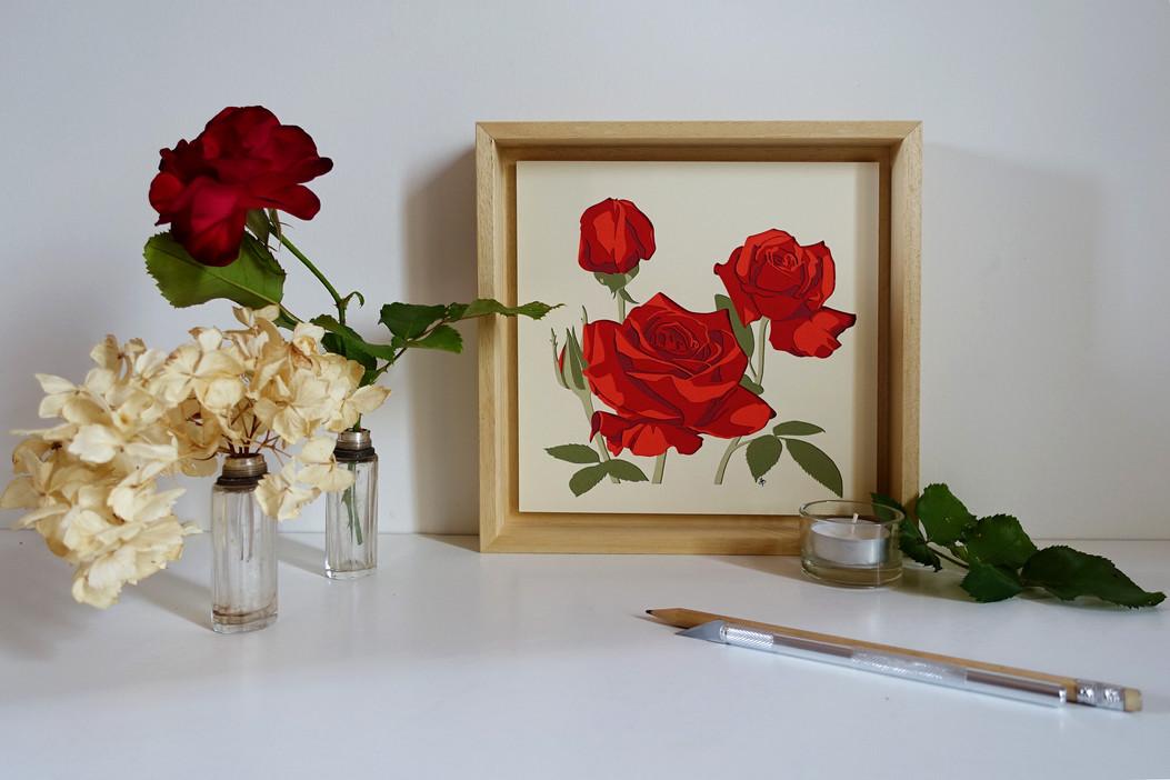 """Kirigami """"Trio de roses rouges"""""""