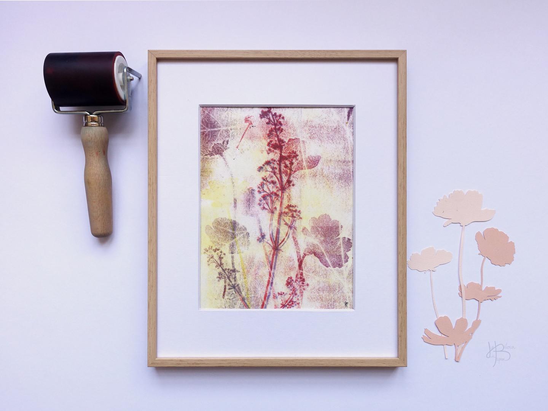 """Monotype """"Fleurs de cosmos dansant au gré du vent"""""""