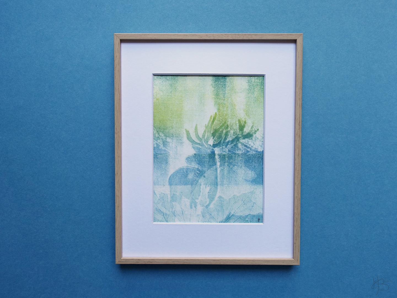 """Monotype """"Aurora Borealis"""""""