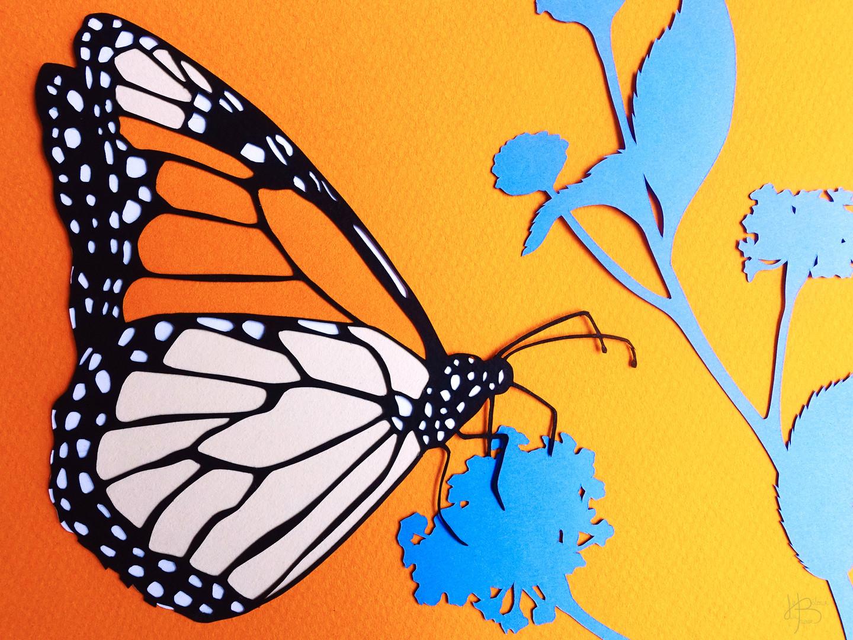 """Papier découpé """"Papillon Monarque"""""""