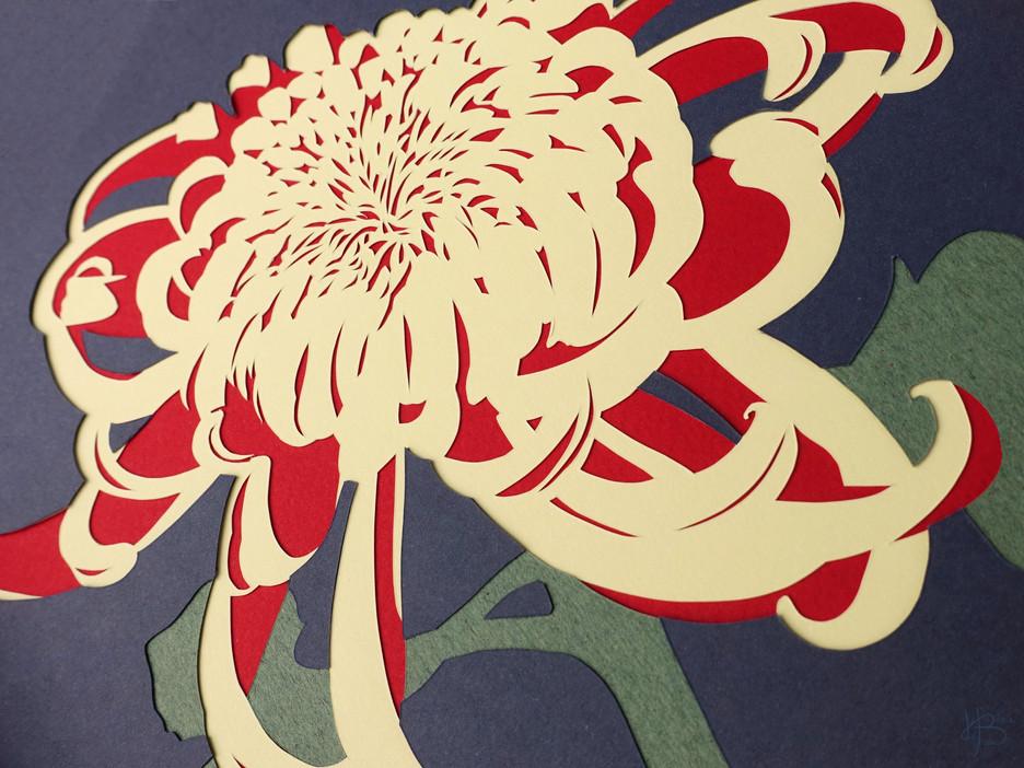 "Kirigami ""Chrysanthème japonais bicolore"""