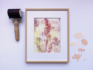 Comos flowers linocut artwork