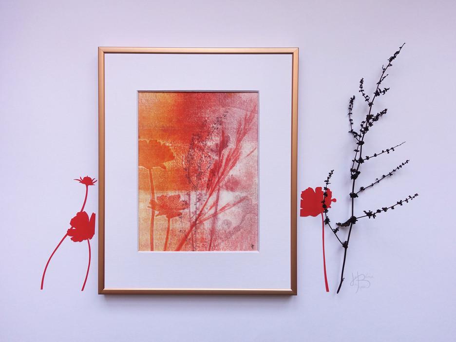 """Monotype """"Flamboiement de fleurs de cosmos"""""""