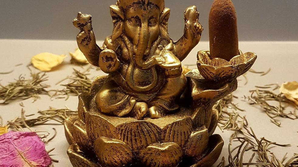 Incensário cascata Flor de lótus Ganesha