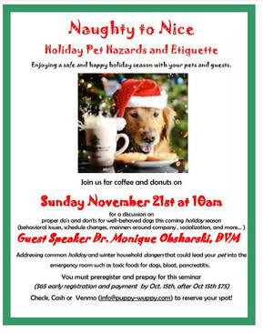 Naughty to Nice Holiday Pet Hazards Seminar