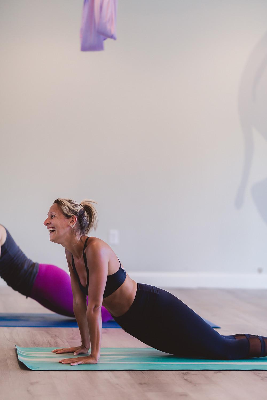 Adrienne Salon laughing at Yogaja Yoga by Mary Wyar Photography