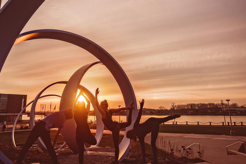 Yogaja Yoga teachers at Promenade Park Toledo by Mary Wyar Photography