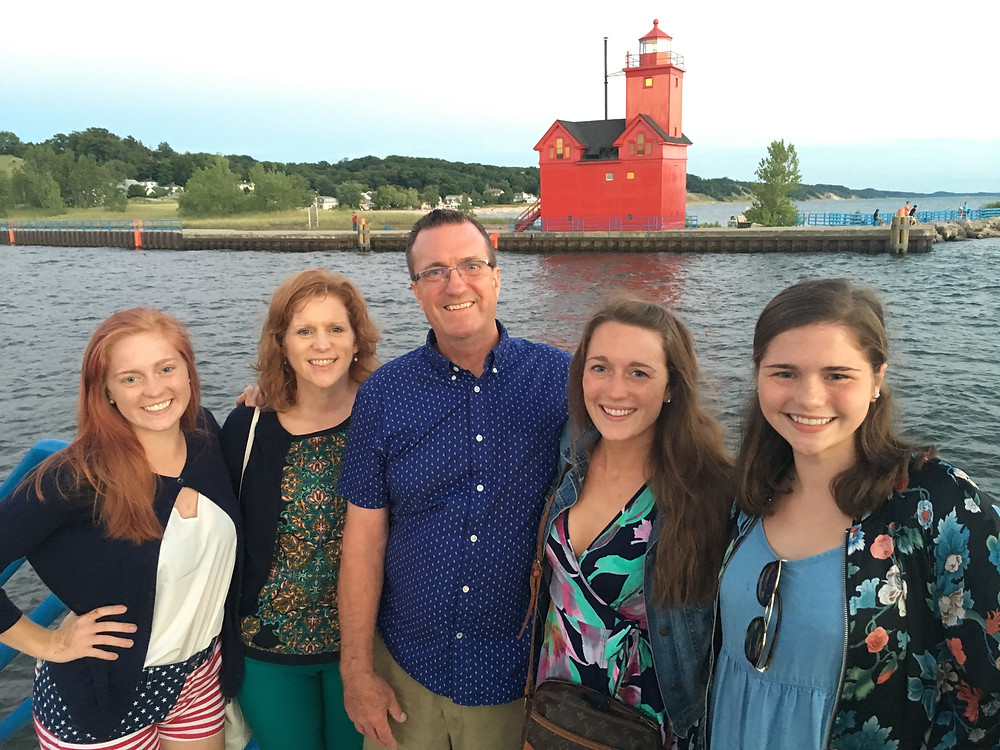 Jim Mihaly and his wife and daughters