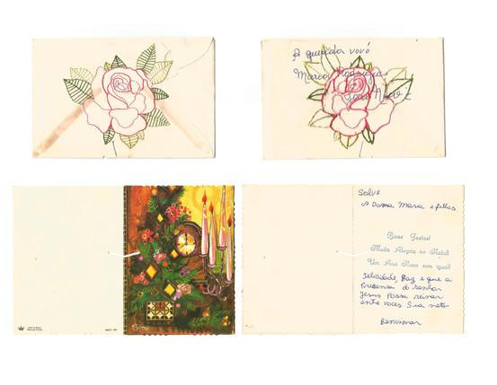 """À querida vovó Maria Rodrigues [verso], 2020  Série """"Casa 34"""" Bordado sobre envelope de cartão com marcas do tempo (sem data) e cartão de natal Dimensões variáveis"""