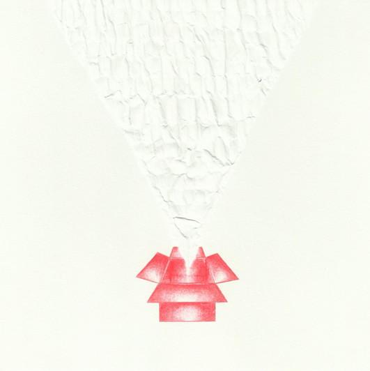 Sem título, 2015  Desenho com grafites coloridos para lapiseira 0.5 mm e fricção no verso com caneta esferográfica sobre papel g/m² 220  Dimensões: 17 cm x 17 cm  A série é composta por 06 desenhos.